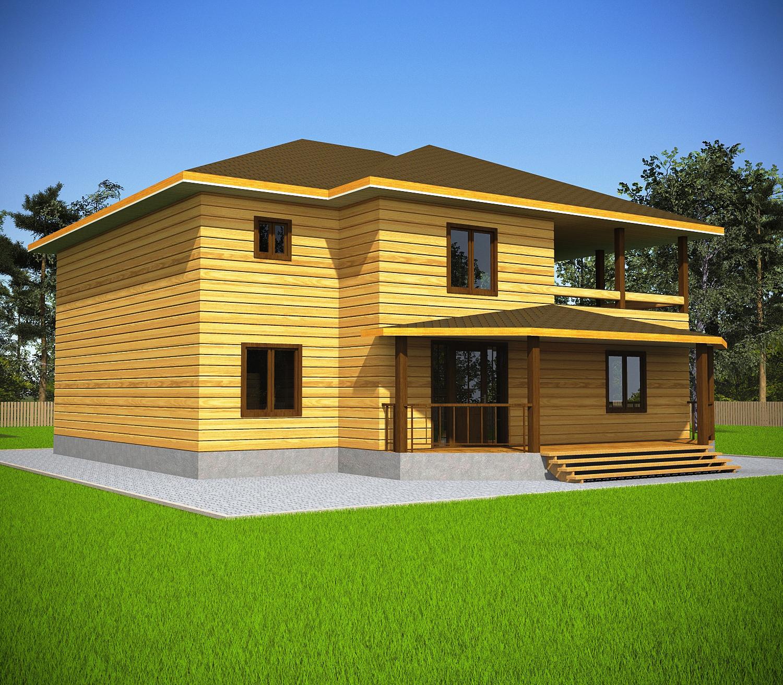 Проект дома из бруса 11х12 2 этажа с крыльцом и террасой. Фасад 2.