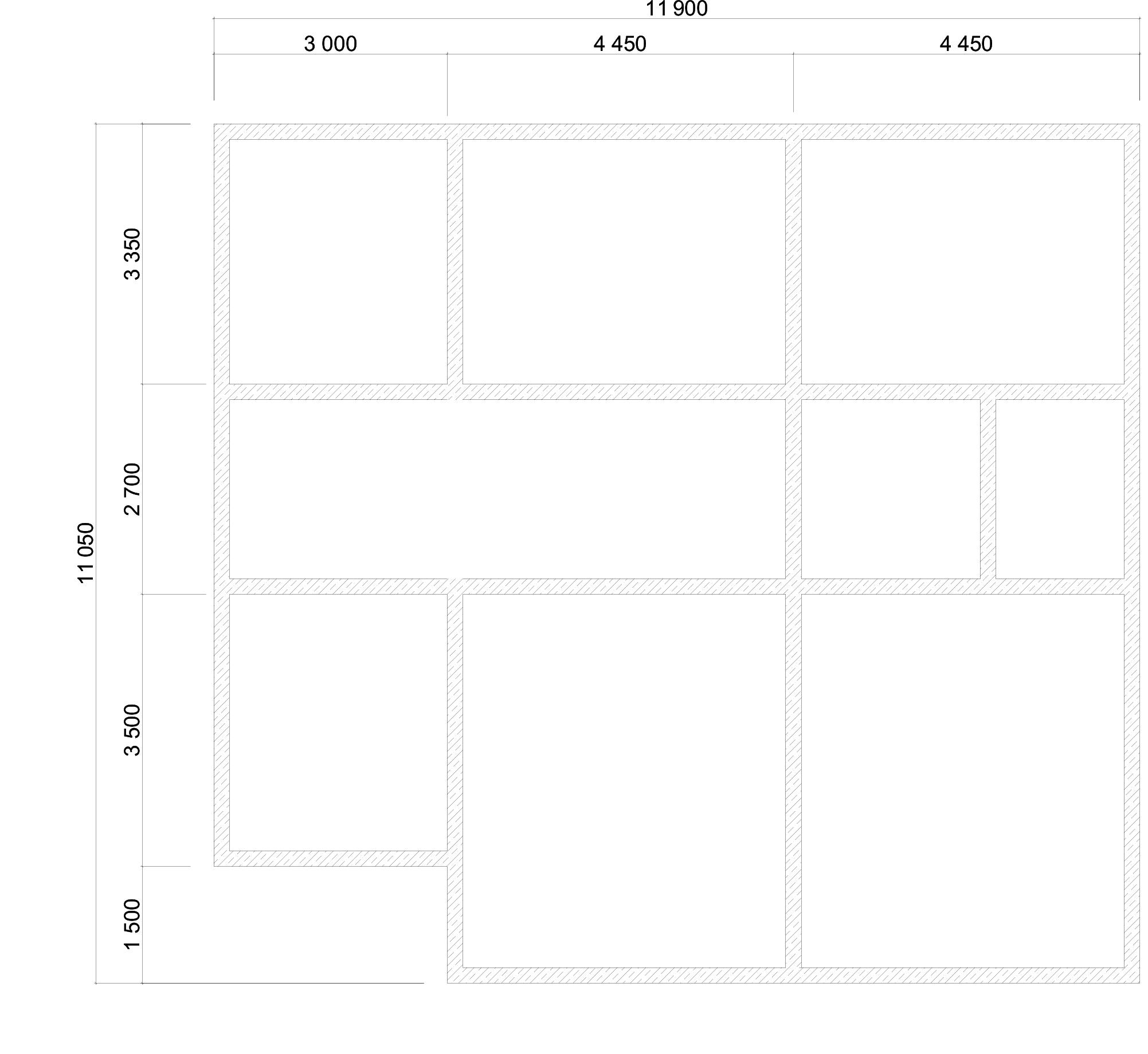 Проект дома из бруса 11х12 2 этажа с крыльцом и террасой. План фундамента.