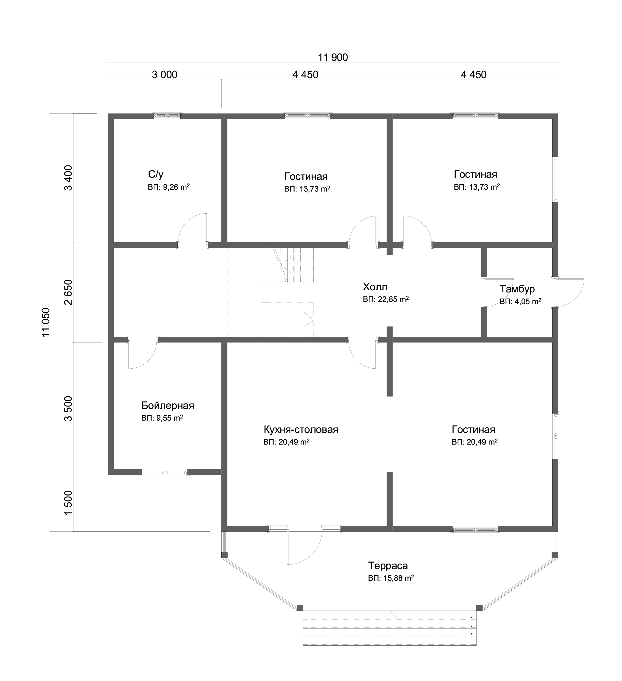Проект дома из бруса 11х12 2 этажа с крыльцом и террасой. План 1-го этажа.