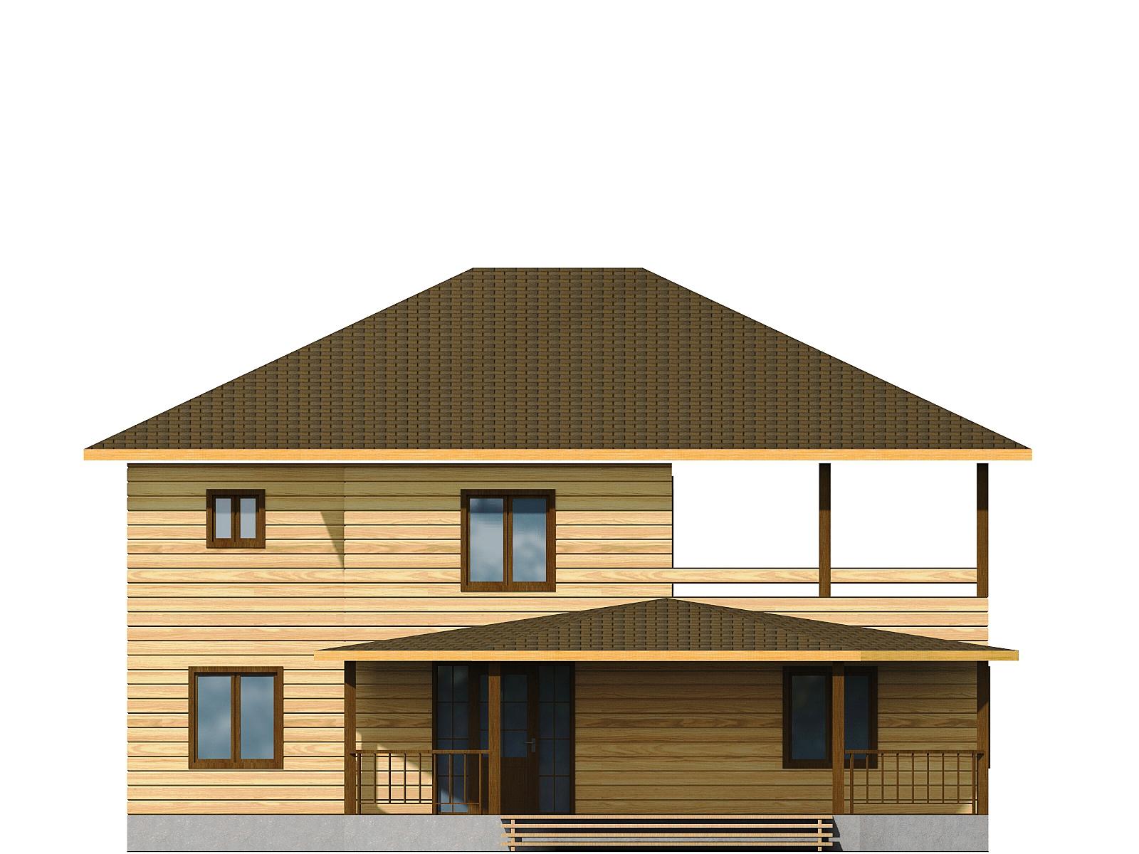 Проект дома из бруса 11х12 2 этажа с крыльцом и террасой. Разрез 1.