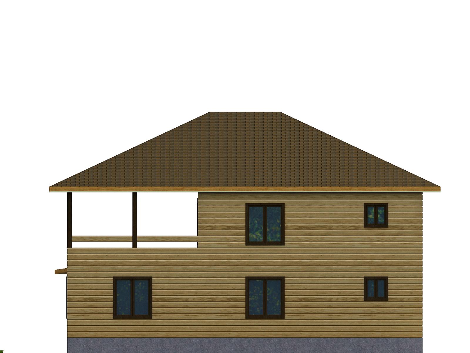 Проект дома из бруса 11х12 2 этажа с крыльцом и террасой. Разрез 2.