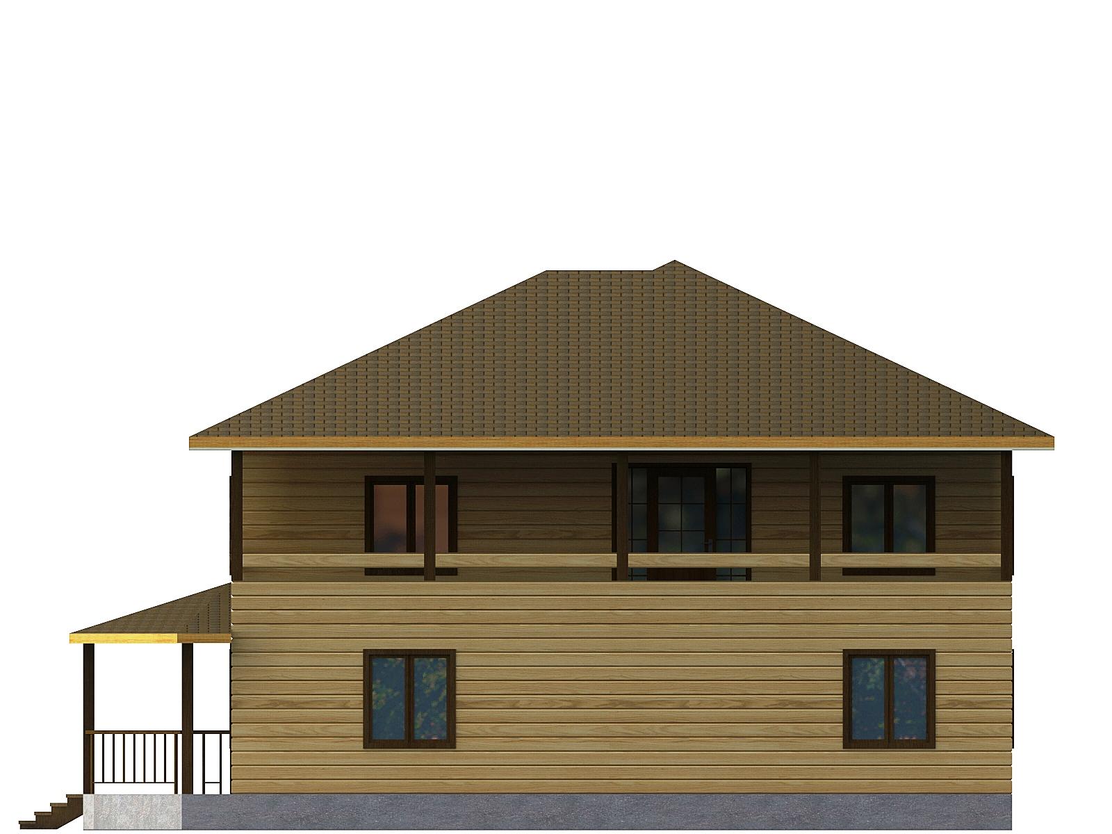 Проект дома из бруса 11х12 2 этажа с крыльцом и террасой. Разрез 3.