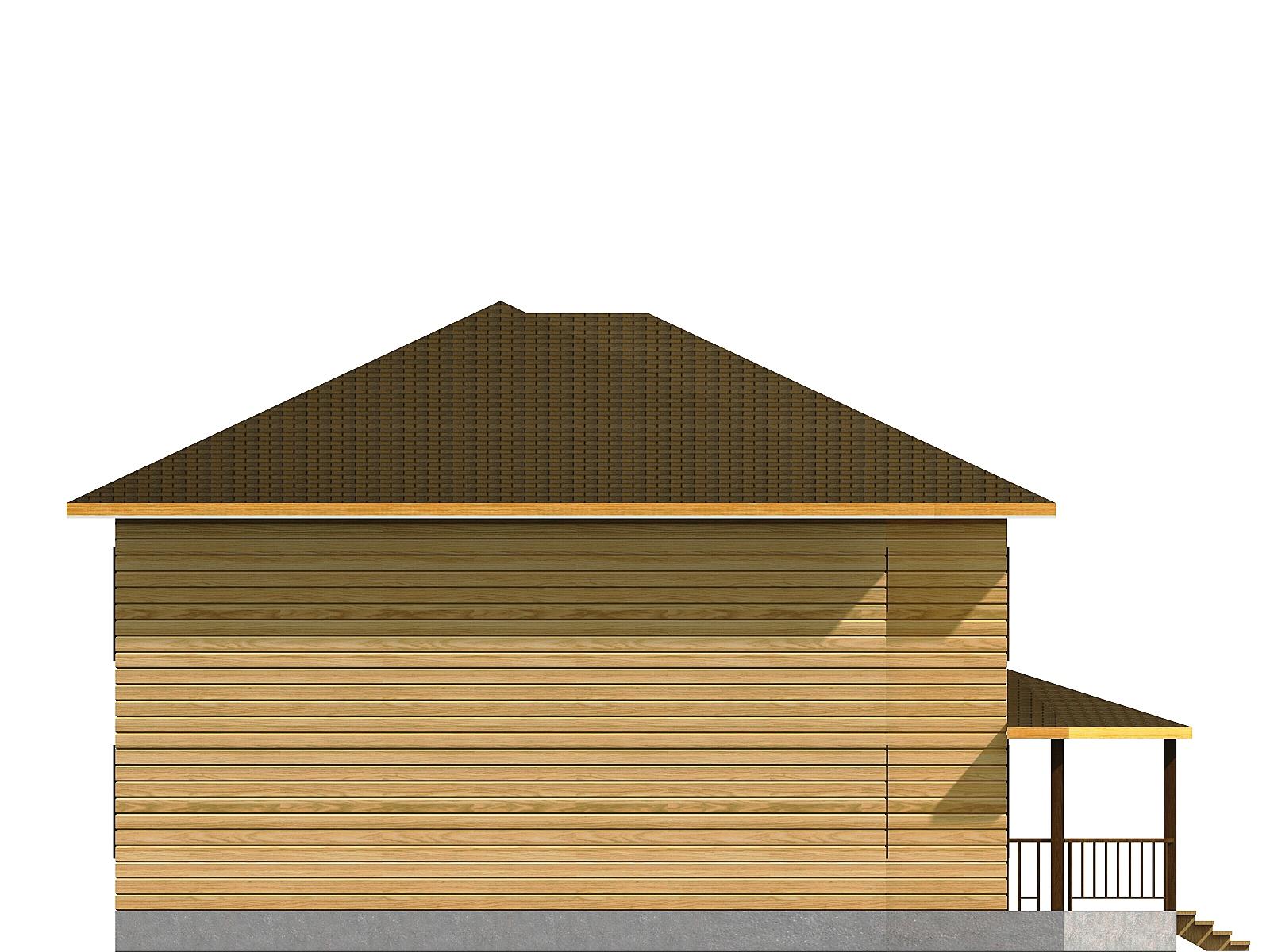 Проект дома из бруса 11х12 2 этажа с крыльцом и террасой. Разрез 4.