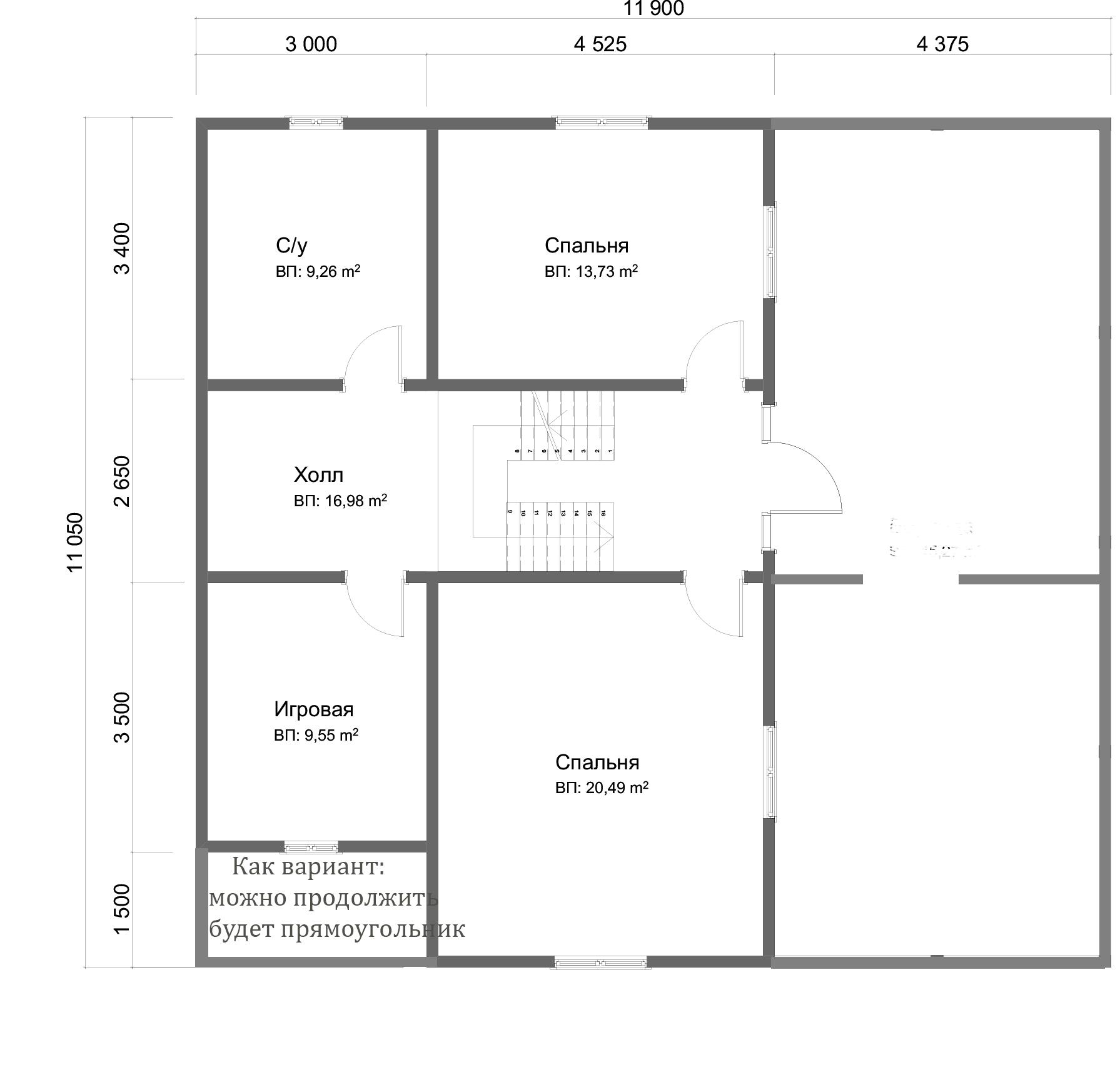 Проект дома из бруса 11х12 2 этажа с крыльцом и террасой. План 2-го этажа.