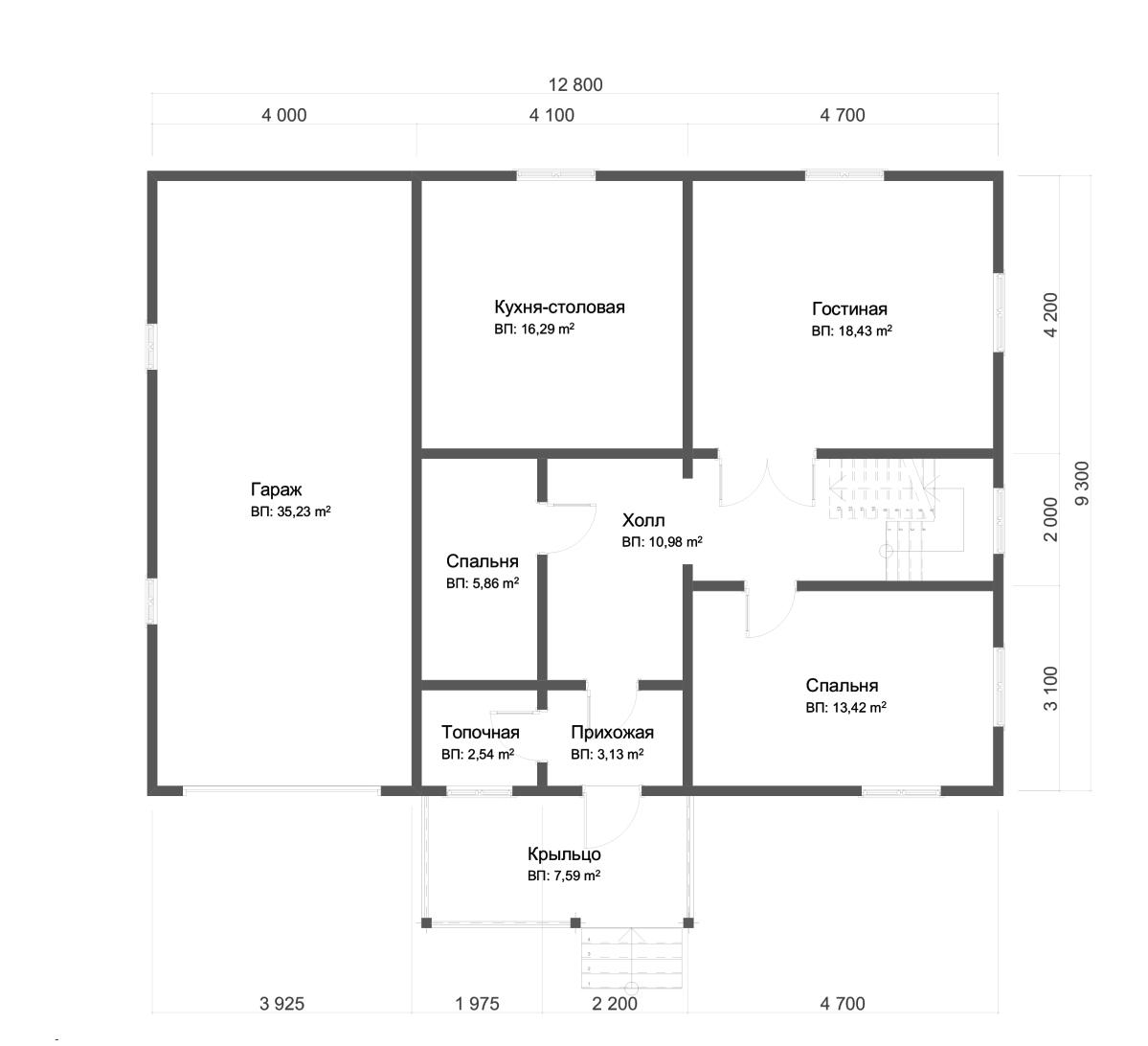 Проект дома из бруса 9,3х12,8 1,5 этажа с гаражом. План 1-го этажа.
