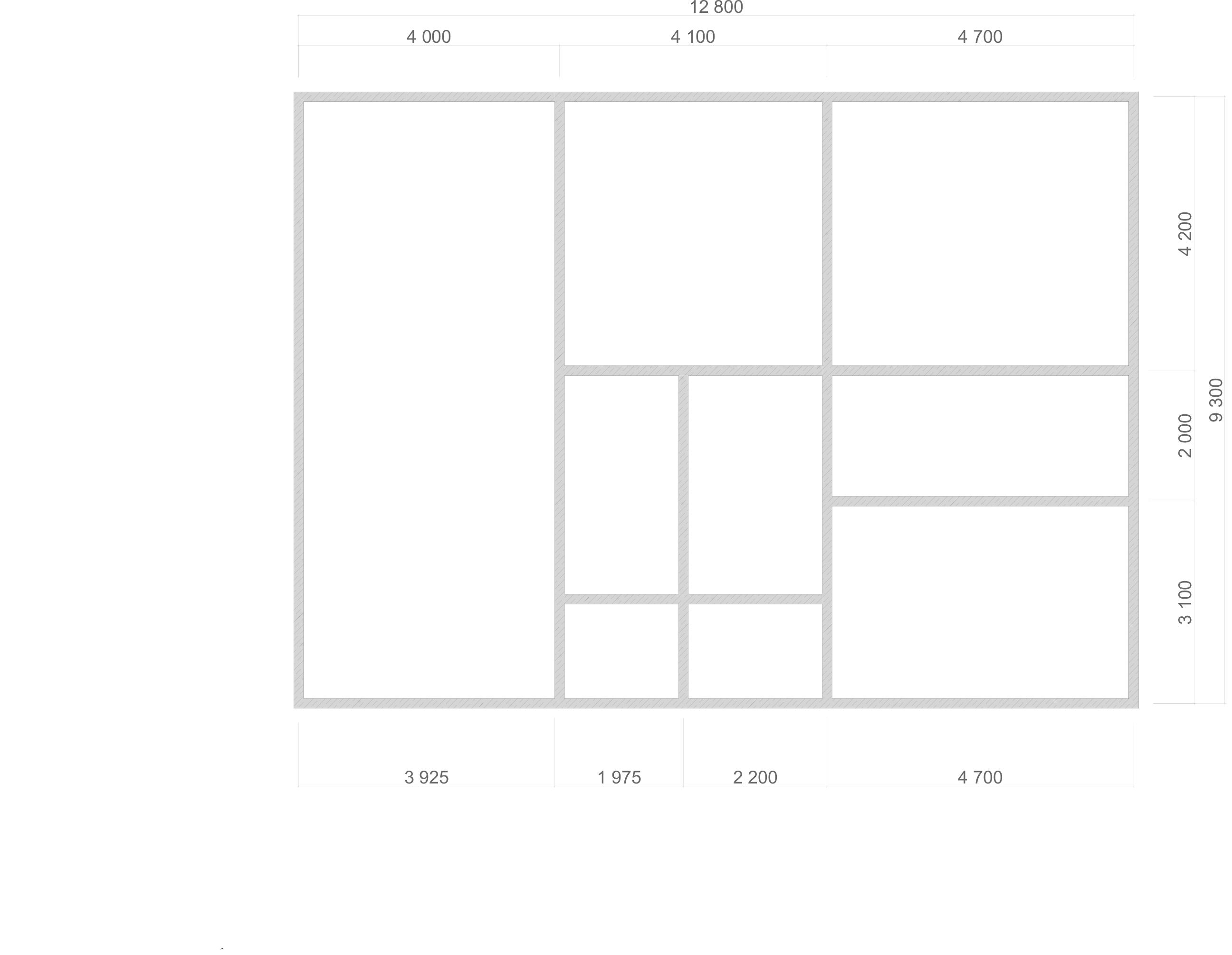 Проект дома из бруса 9,3х12,8 1,5 этажа с гаражом. План фундамента.