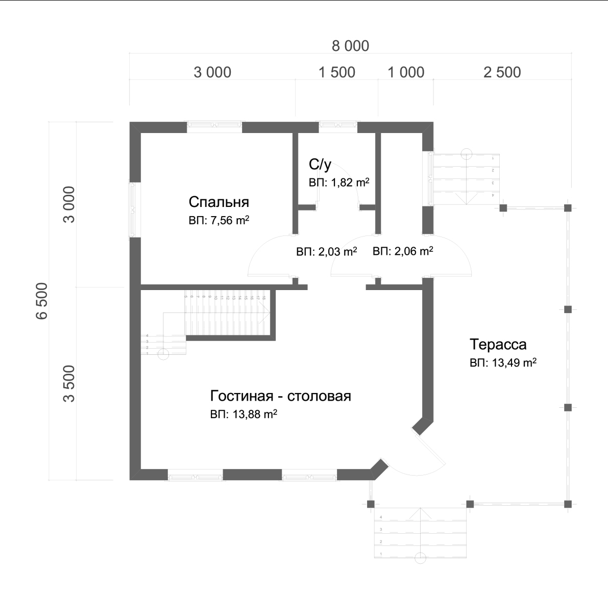Проект дома из бруса 6,7х8 с мансардой. План 1-го этажа.