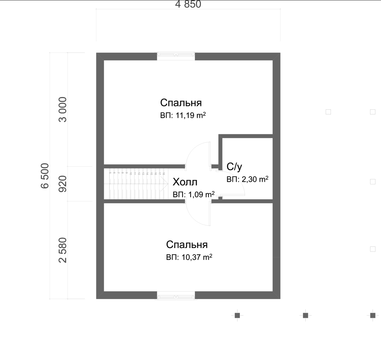 Проект дома из бруса 6,7х8 с мансардой. План 2-го этажа.
