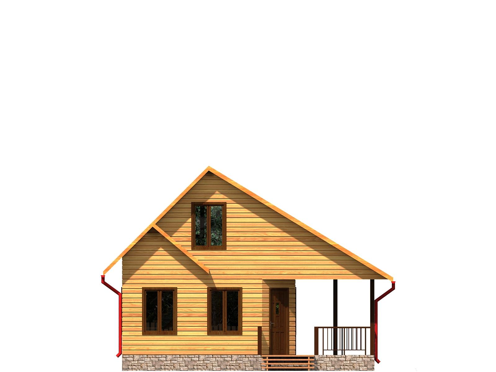 Проект дома из бруса 6,7х8 с мансардой. Разрез 1.