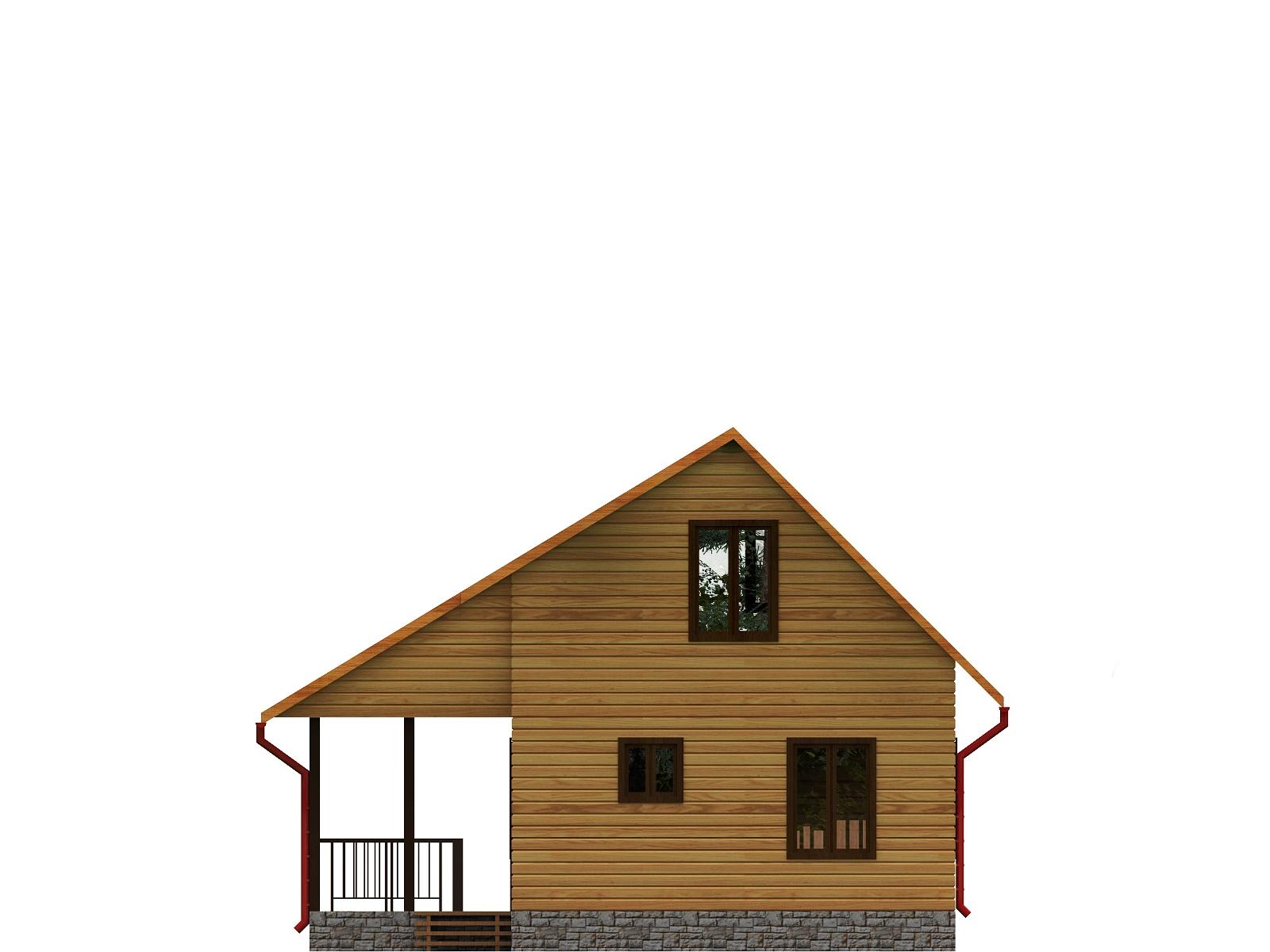 Проект дома из бруса 6,7х8 с мансардой. Разрез 2.