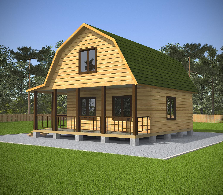 Проект дома из бруса 7.5х7.5. Фасад 1.