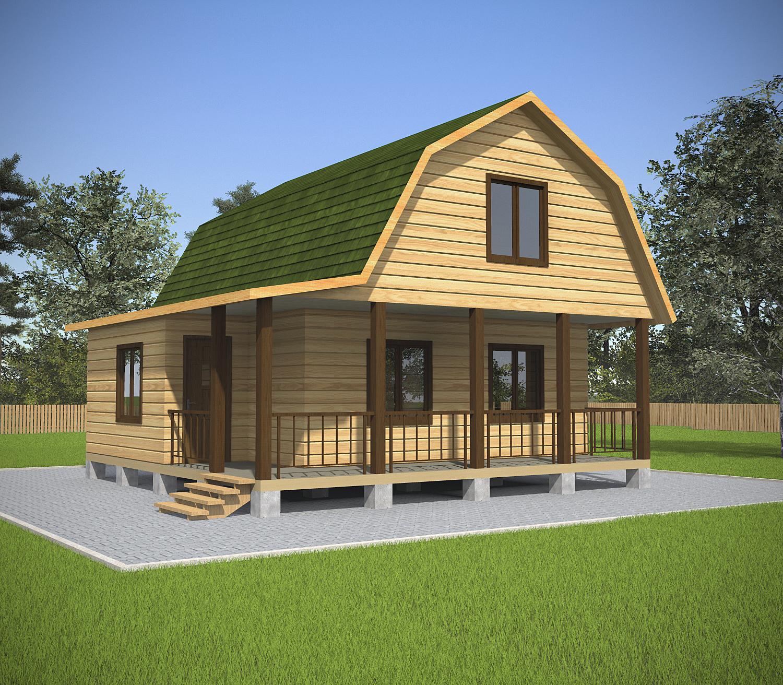 Проект дома из бруса 7.5х7.5. Фасад 2.