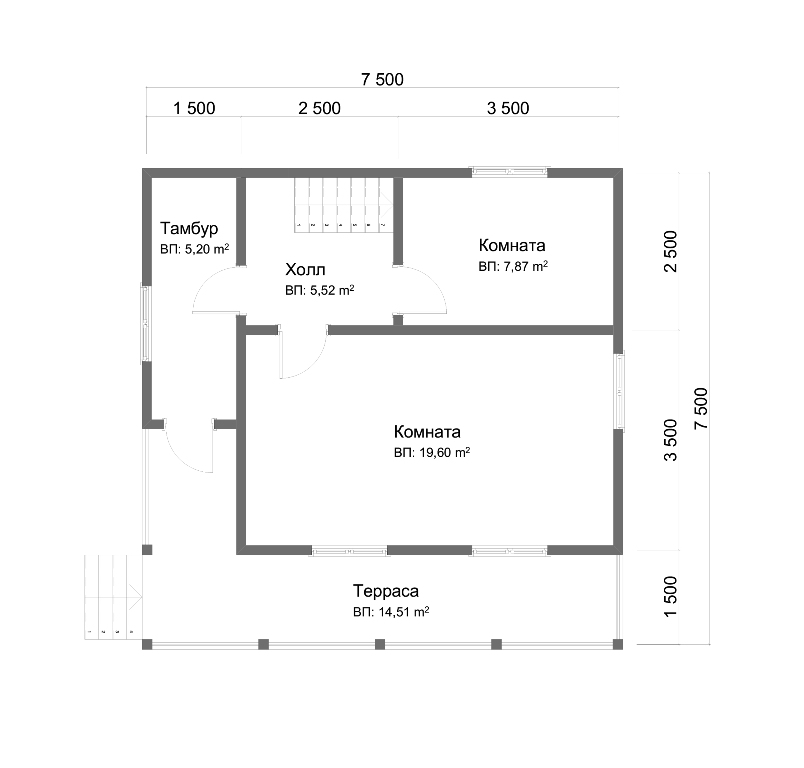 Проект дома из бруса 7.5х7.5. Планировка 1-го этажа.