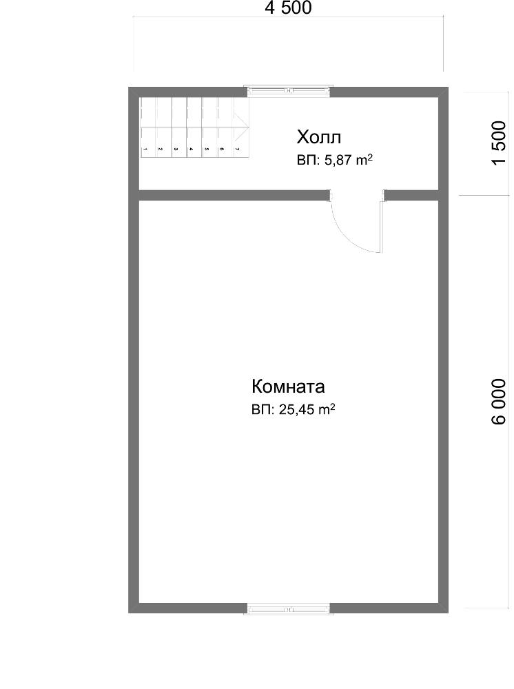 Проект дома из бруса 7.5х7.5. Планировка 2-го этажа.