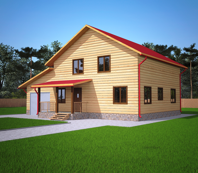 Проект дома из бруса 9,3х12,8 1,5 этажа с гаражом. Фасад 1.