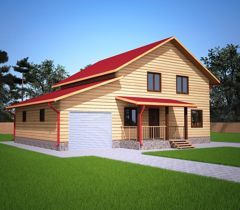 Проект дома из бруса 9,3х12,8 1,5 этажа с гаражом. Фасад 2.