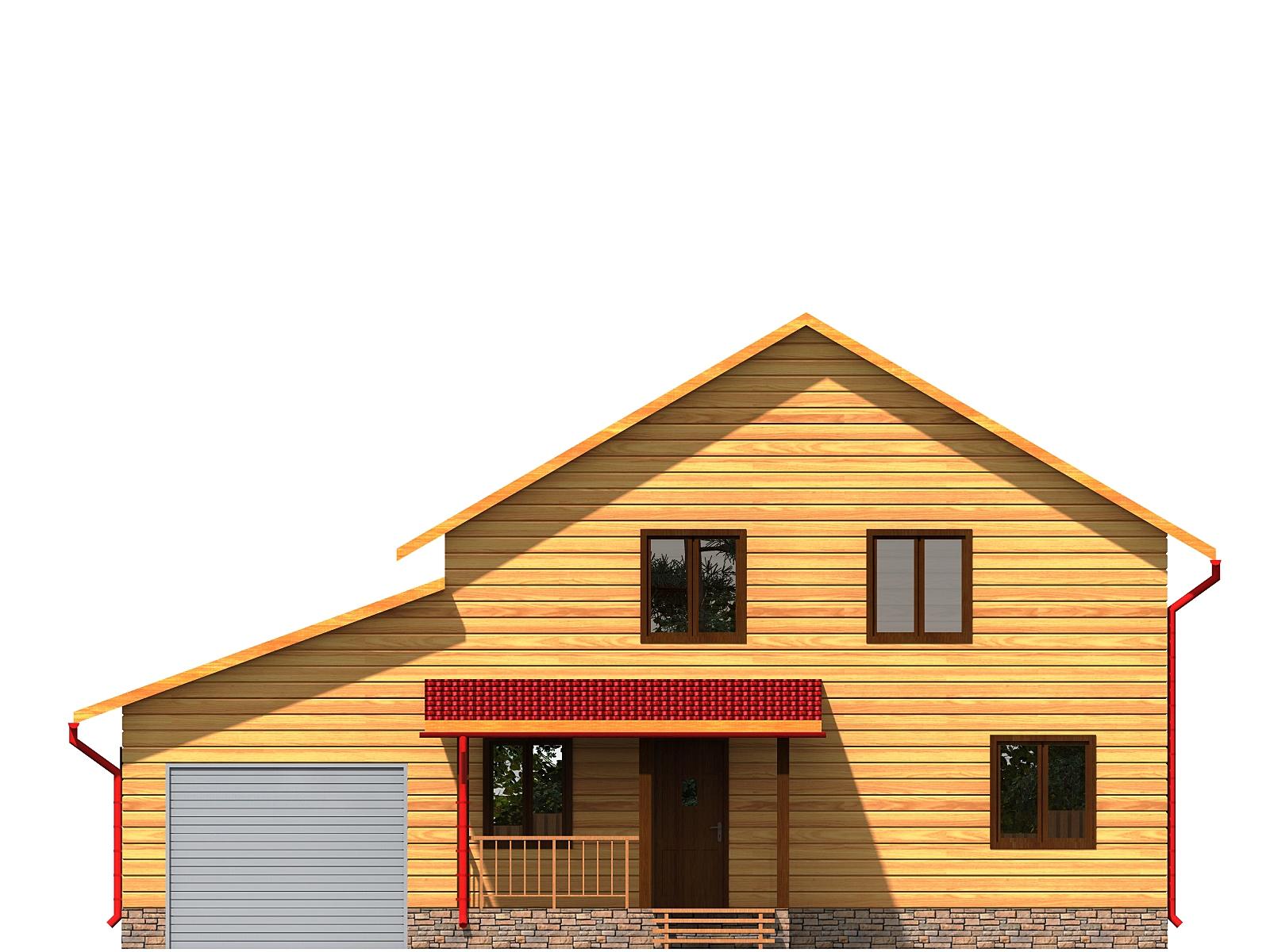Проект дома из бруса 9,3х12,8 1,5 этажа с гаражом. Разрез 1.