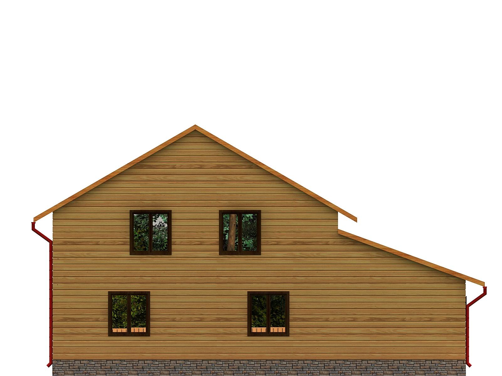 Проект дома из бруса 9,3х12,8 1,5 этажа с гаражом. Разрез 2.