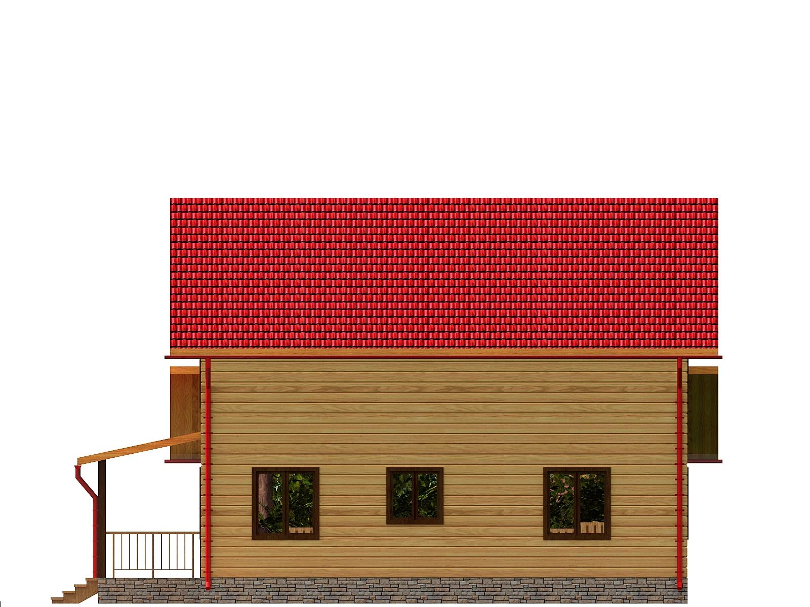 Проект дома из бруса 9,3х12,8 1,5 этажа с гаражом. Разрез 3.