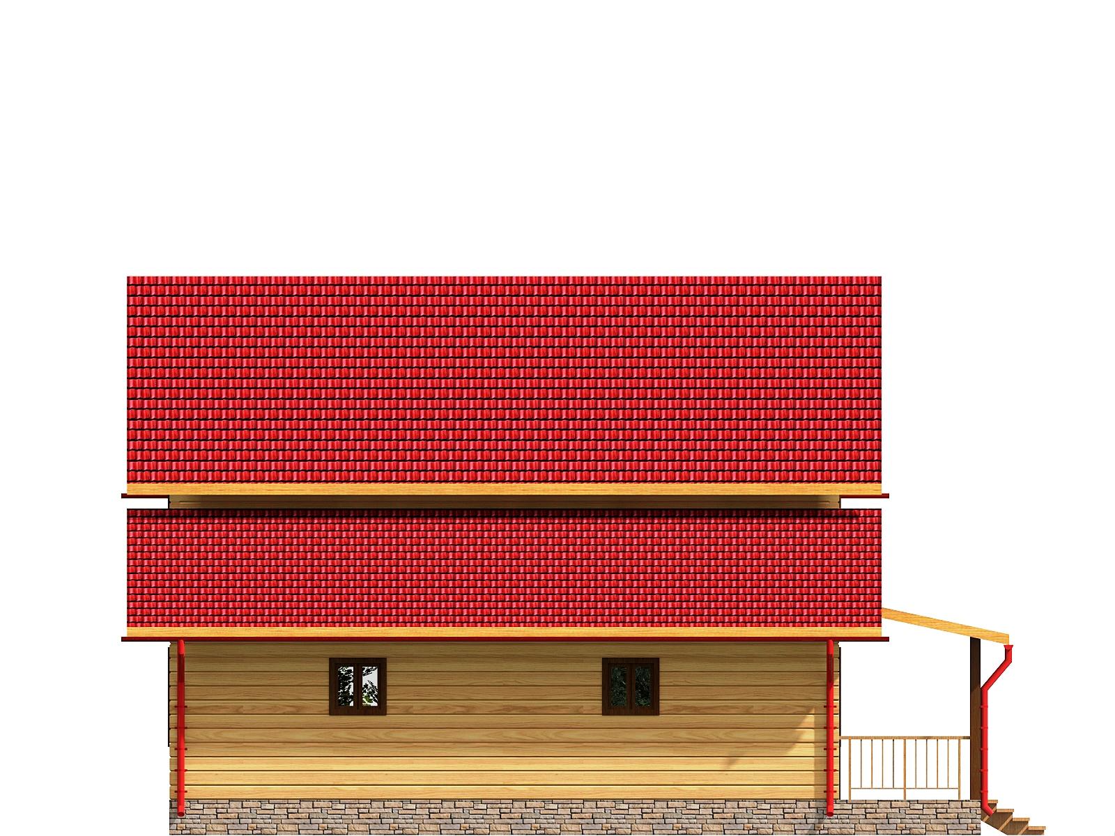 Проект дома из бруса 9,3х12,8 1,5 этажа с гаражом. Разрез 4.