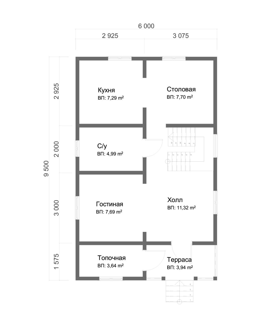 Проект дома из бруса 6х9,5 1,5 этажа с террасой и балконом. План 1-го этажа.