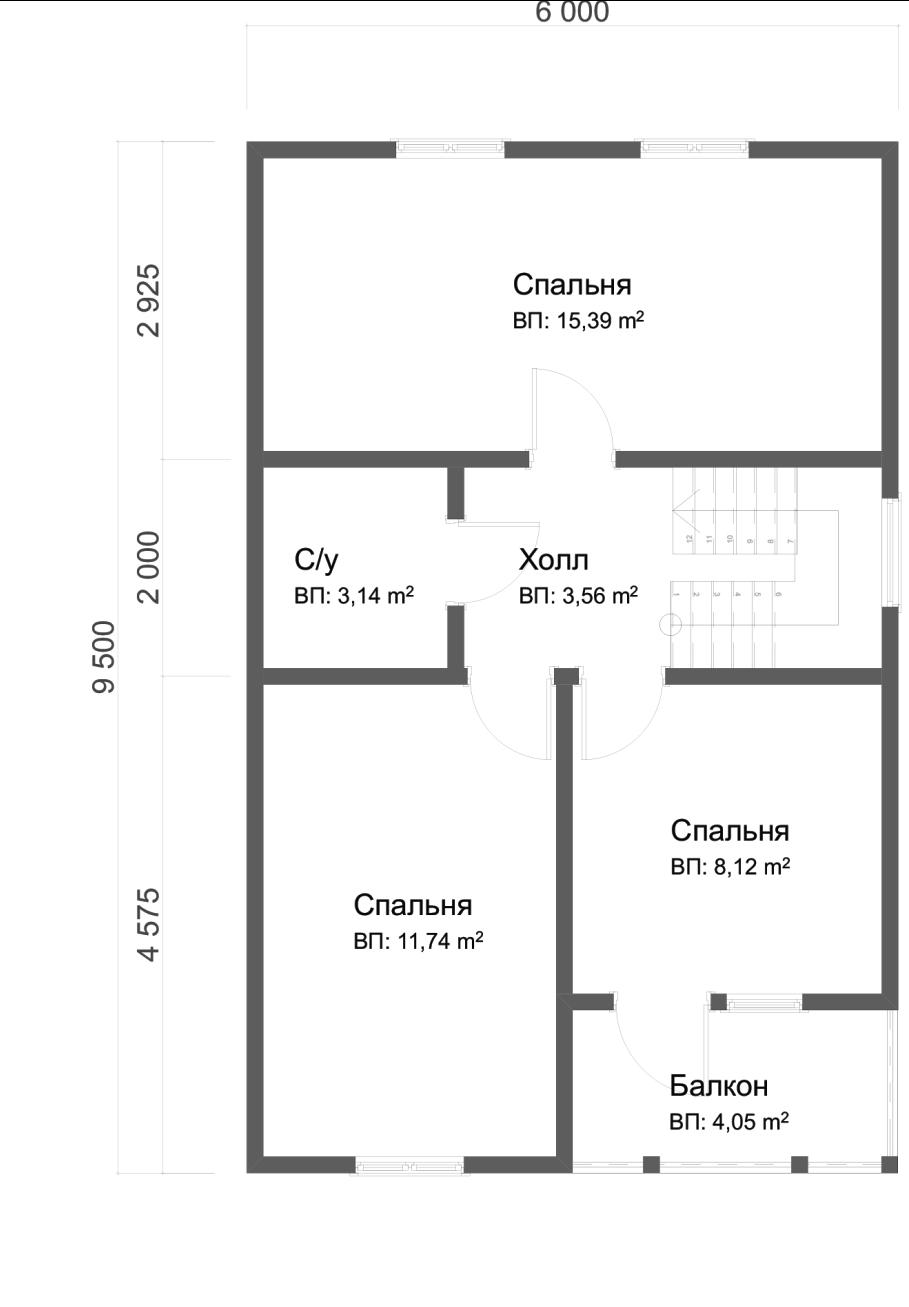 Проект дома из бруса 6х9,5 1,5 этажа с террасой и балконом. План 2-го этажа.