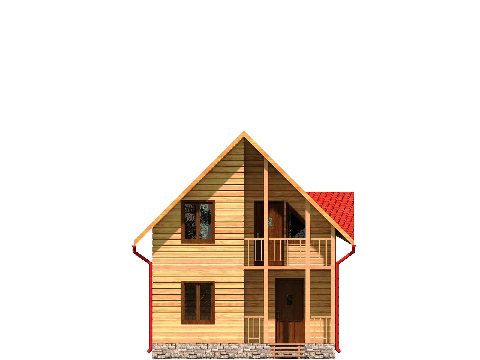 Проект дома из бруса 6х9,5 1,5 этажа с террасой и балконом. Разрез 1.