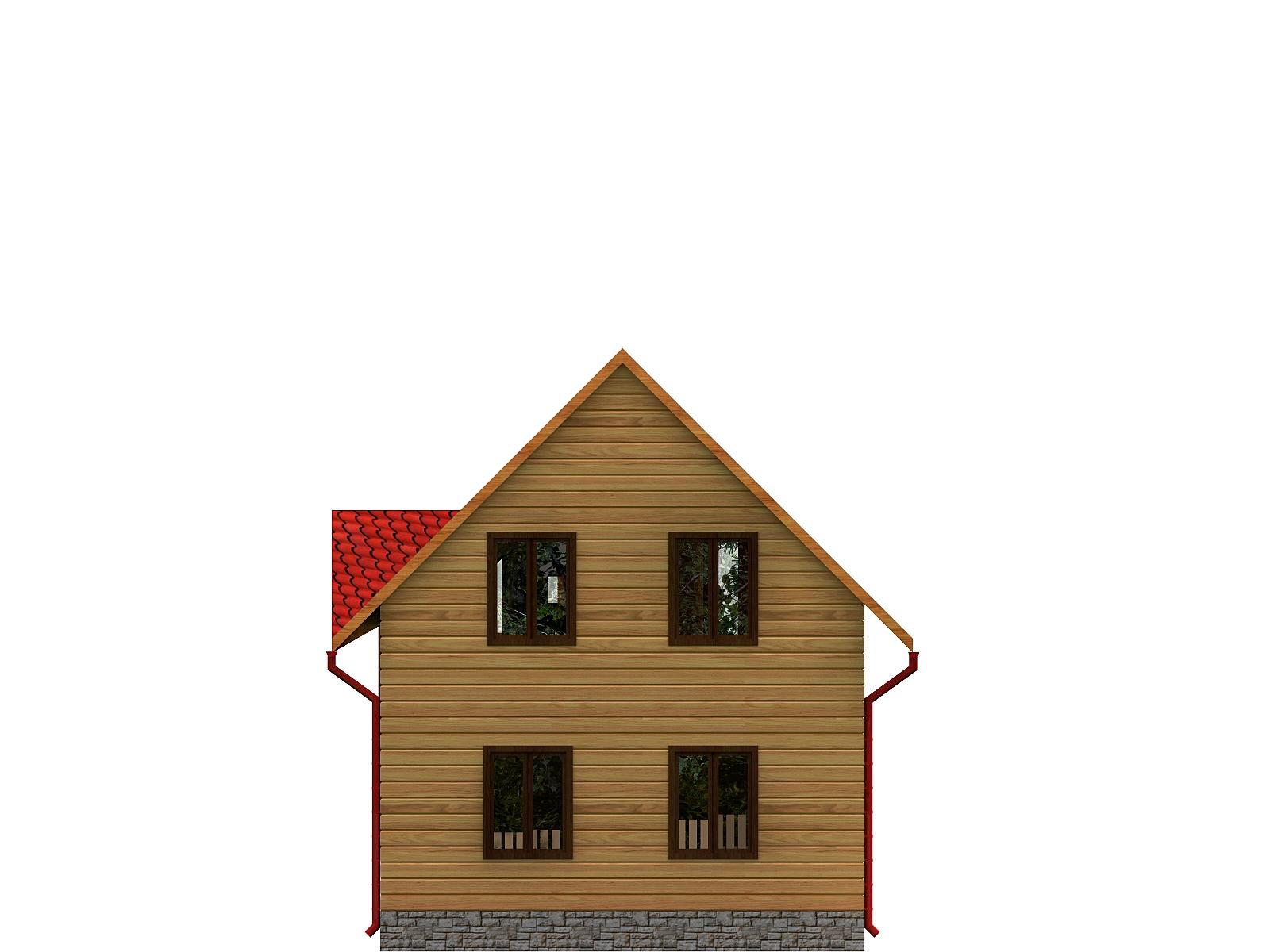 Проект дома из бруса 6х9,5 1,5 этажа с террасой и балконом. Разрез 2.