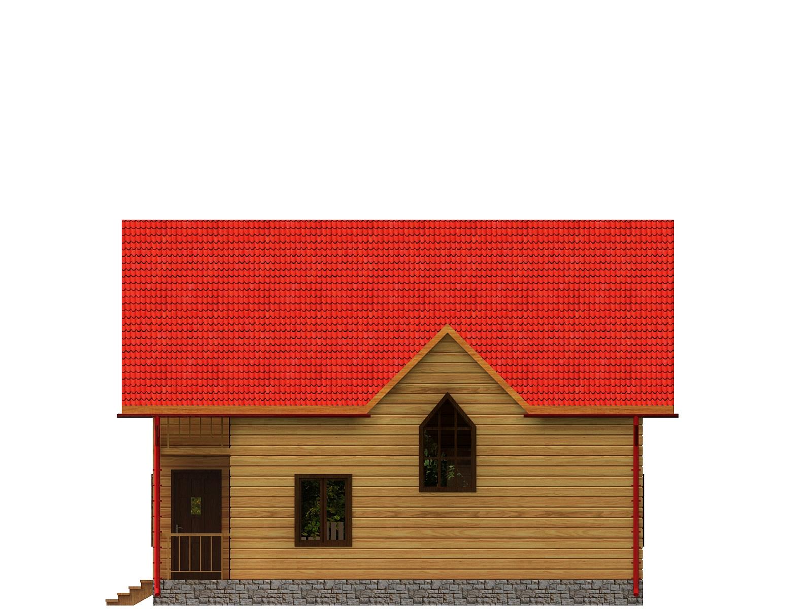 Проект дома из бруса 6х9,5 1,5 этажа с террасой и балконом. Разрез 3.